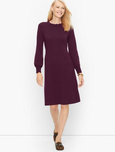 Pointelle Detail Merino Wool A-Line Dress