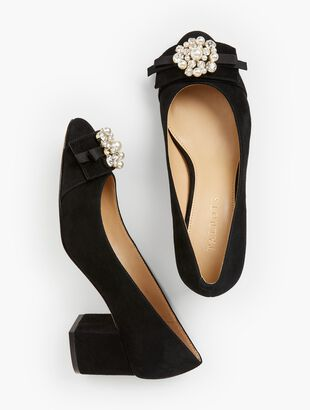 Isa Block-Heel Pumps - Jewel-Embellished