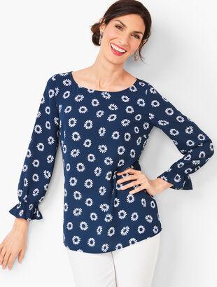 Feminine Sleeve Top - Daisy Print