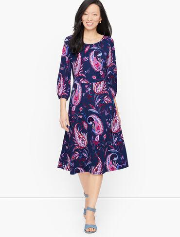 Knit Jersey Winding Paisley  Dress