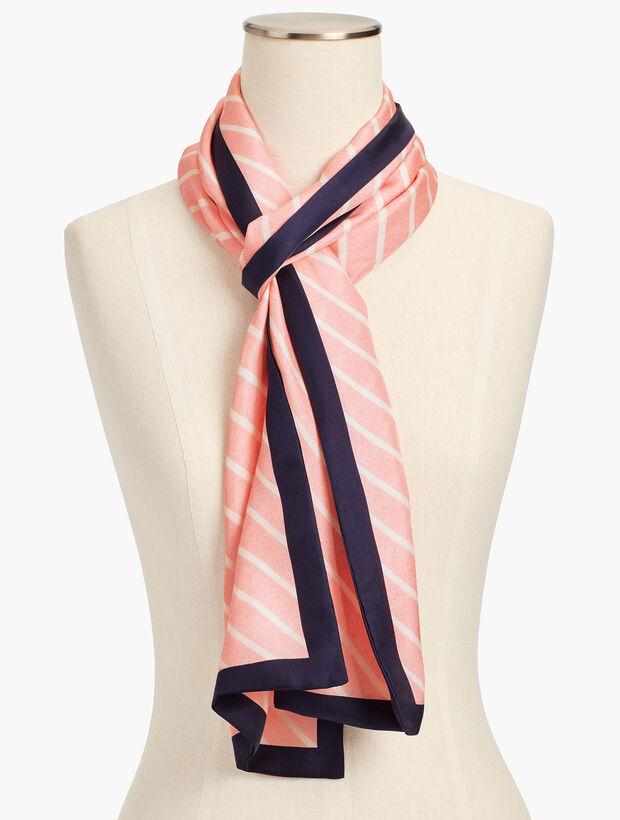 Diagonal-Stripe Silk Scarf