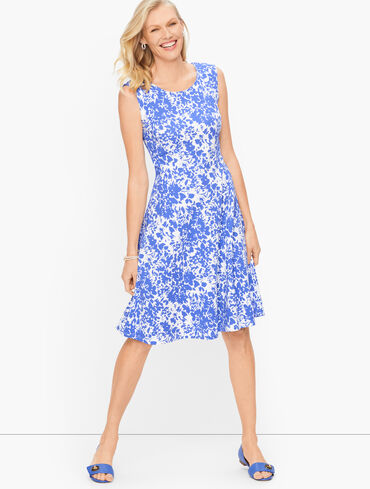 Knit Jersey Fit & Flare Dress - Floral
