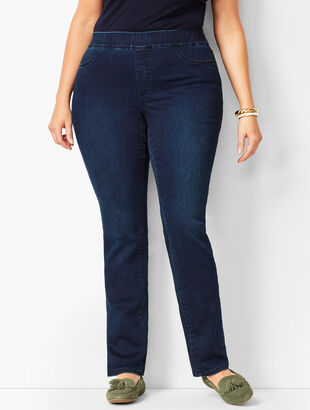 Plus Size Pull-On Straight Leg Jeans - Marco Wash