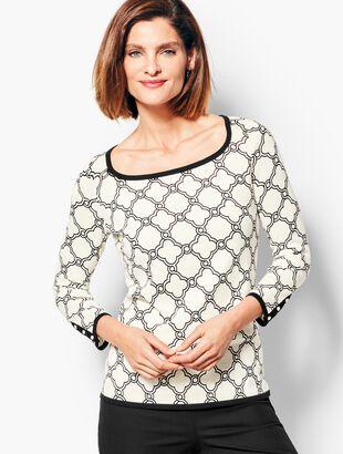 Three-Quarter-Sleeve Tipped Button-Cuff Sweater - Geo-Print