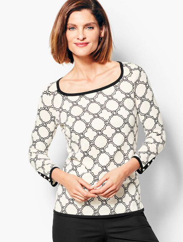 Three-Quarter-Sleeve Tipped Button-Cuff Sweater - Geo-Print