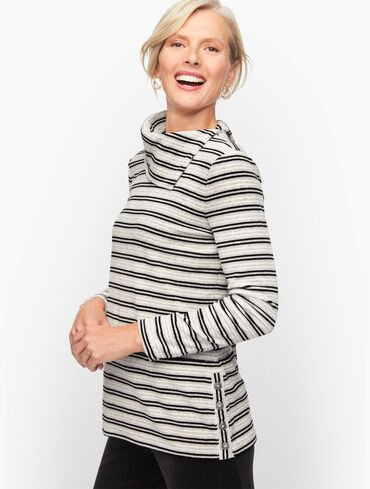 Candy Stripe Velour Cowlneck Pullover