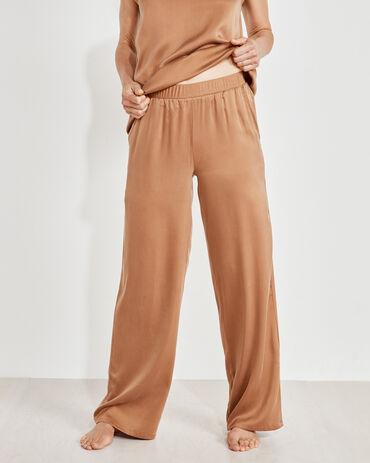 Washable Silk Rib Trim Pants