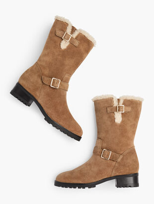 Tish Faux Shearling Trim Boots - Suede