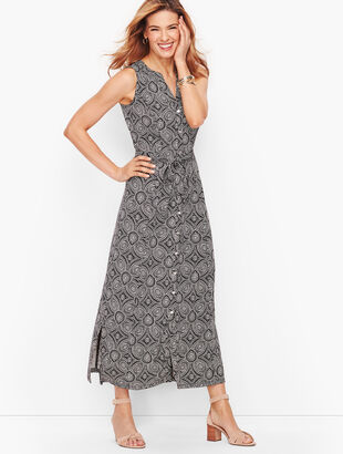 Medallion Print Jersey Maxi Shirtdress