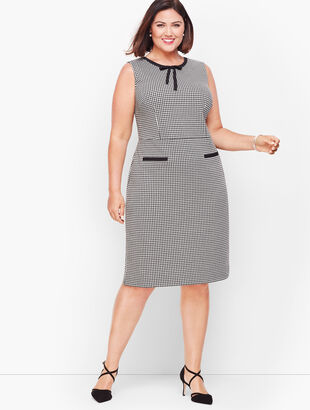 Tipped Ponte Tie Neck Dress - Houndstooth