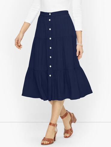 Flowy Tiered Button Down Skirt