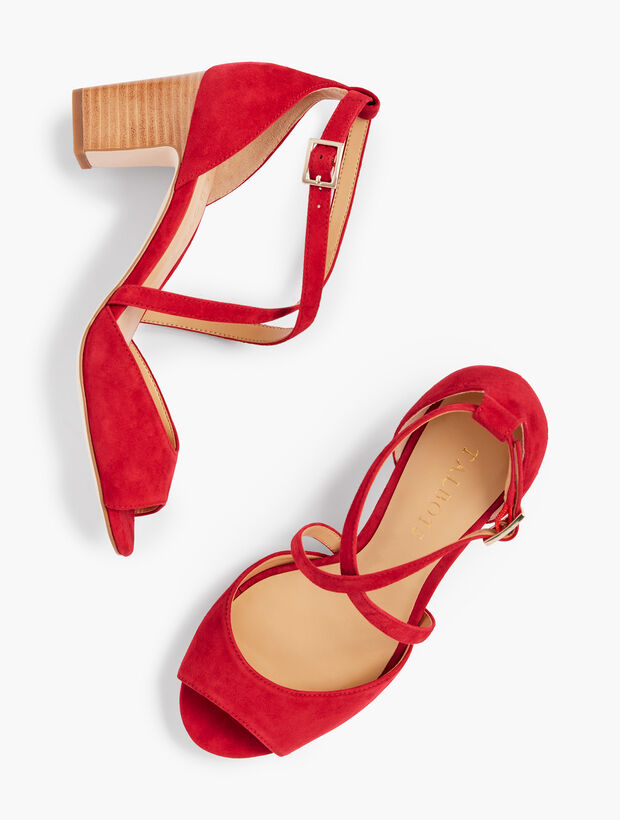 Gisela Cross-Strap Sandals - Kid Suede