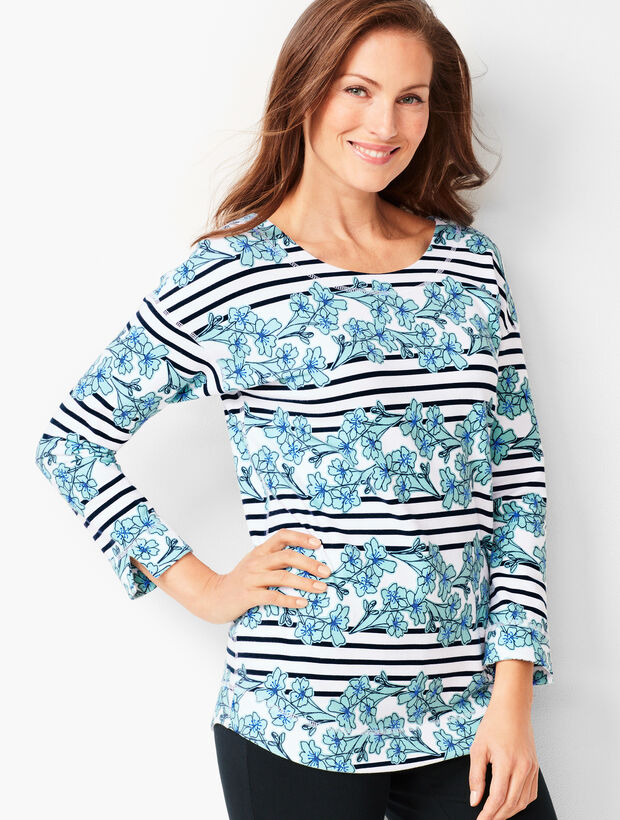 Floral & Stripe Terry Top