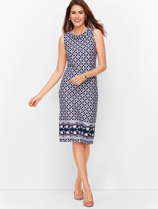 Audrey Knit Shift Dress - Border Print