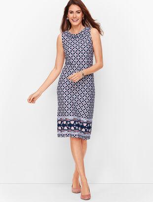 Audrey Knit Shift Dress - Border Print