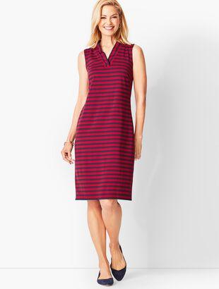 Feminine Knit Jersey Dress - Striped