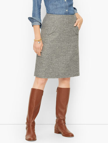 Tonal Herringbone A-Line Skirt