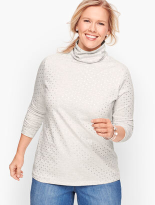 Long Sleeve Turtleneck Tee - Foil Heather Snowflake