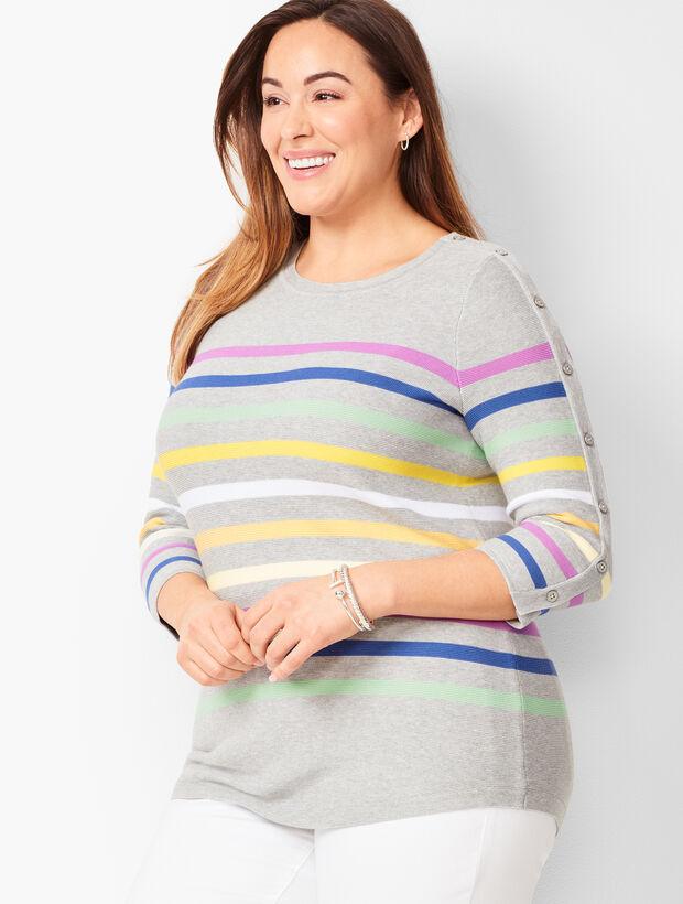 Button-Sleeve Sweater - Stripe