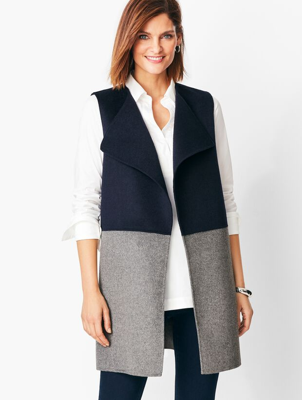 Colorblock Wool Blend Vest