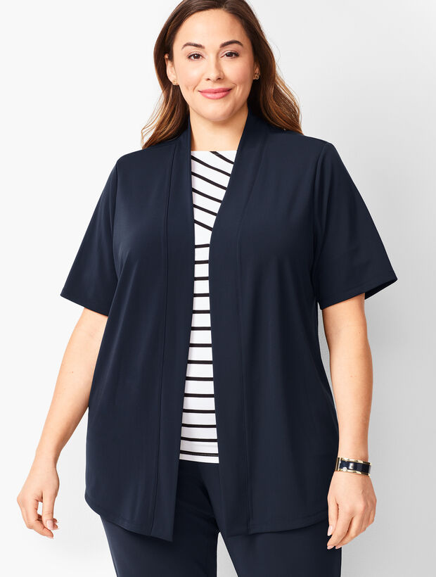 Plus-Size Knit Jersey Open Cardigan