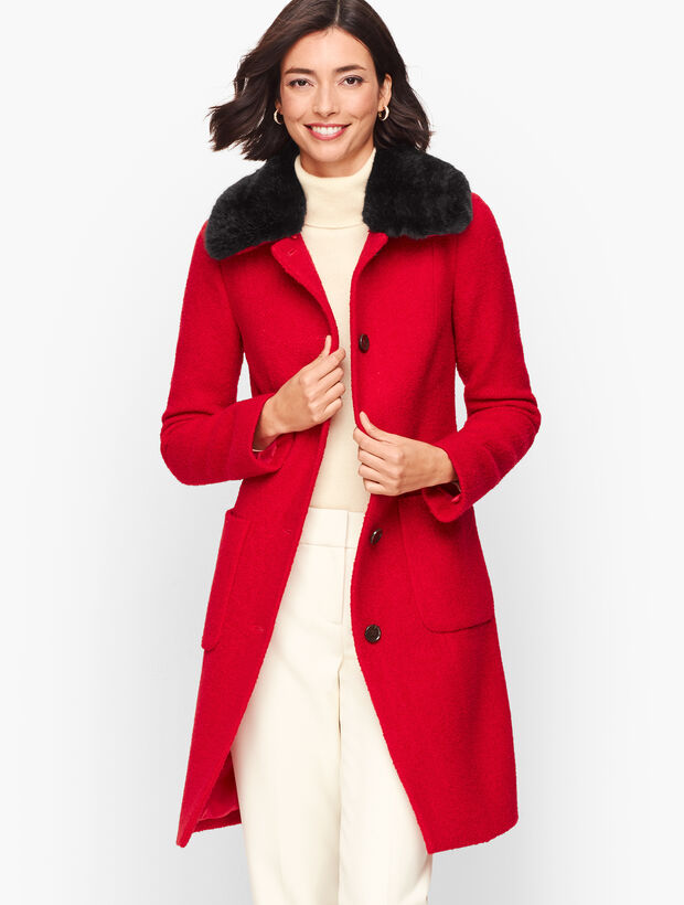 Bouclé Wool Coat With Faux Fur Collar by Talbots