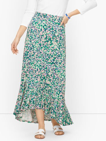 High-Low Flounce Skirt - Ditsy Floral