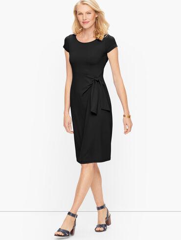 Jersey Tie Front Sheath Dress - Solid