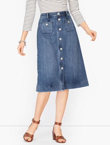 Stretch Denim Button Down Skirt