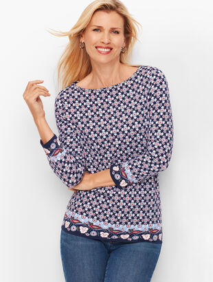 Cotton Bateau Neck Tee - Border Print