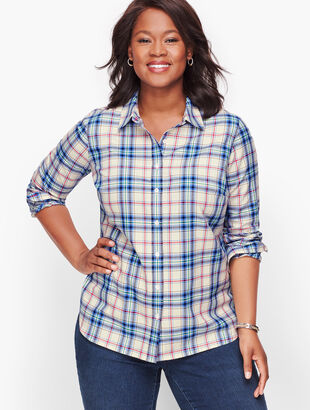 Classic Cotton Shirt - Enchanted Blue Plaid