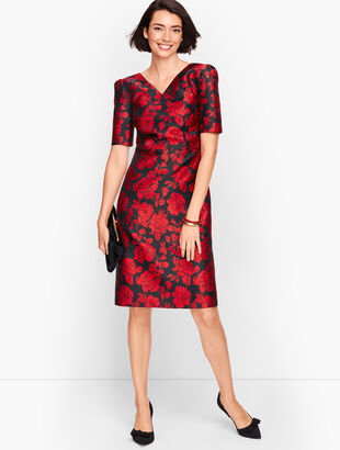 Back Bow Floral Jacquard A-Line Dress