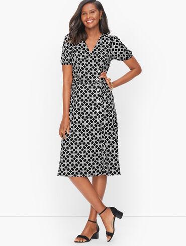 Knit Jersey Faux Wrap Dress