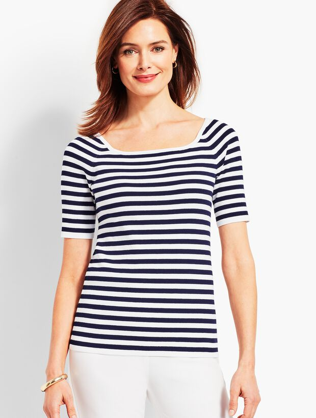 Resort Stripe Square-Neck Elbow-Sleeve Sweater Topper