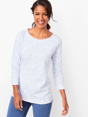 Space-Dyed Three-Quarter-Sleeve Top