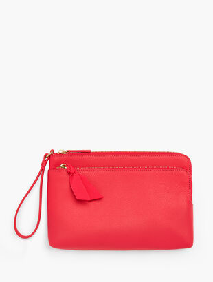 Zip Top Wristlet - Pebbled Leather