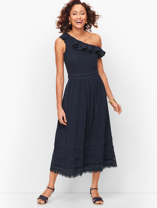 One Shoulder Ruffle Midi Dress