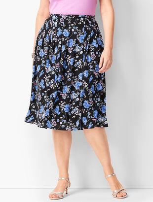 Pleated Wildflowers Midi Skirt