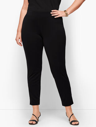 Knit Jersey Faux Pleat Pants