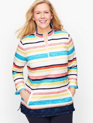 Multicolor Stripe Half Zip Pullover
