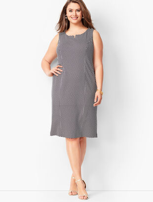 Refined Ponte Knit Sheath Dress - Honeycomb Print