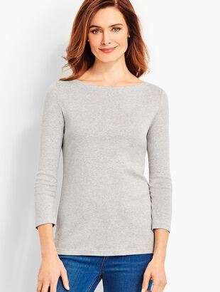 Pima Cotton  Bateau Neck Tee- Greystone Heather