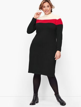 Mockneck Colorblock Sweater Dress