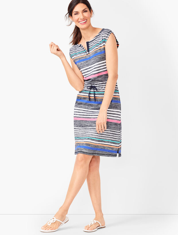 Multi-Color Stripe Shift Dress