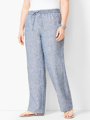 Washed Linen Wide-Leg Pants - Stripe