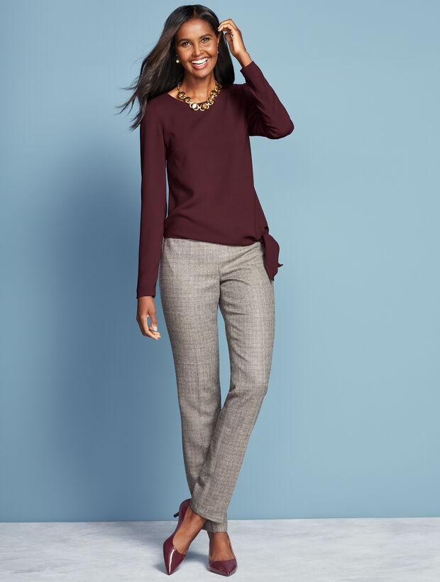 Luxe Tweed Side-Zip Slim-Leg Pant