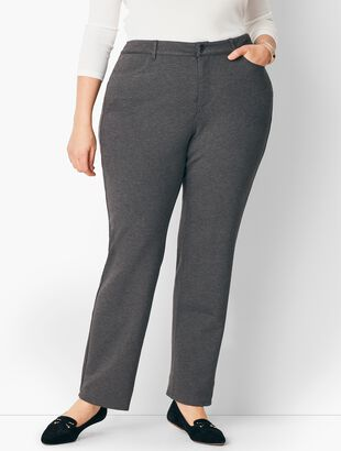 Plus Size High-Rise Straight-Leg Pants - Curvy Fit - Ponte
