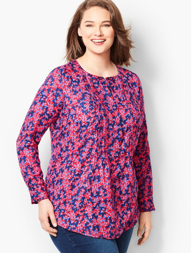 Plus Size Floral Cotton Pintuck Blouse
