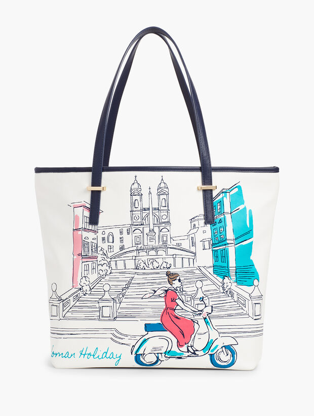 Printed Scooter Tote Bag