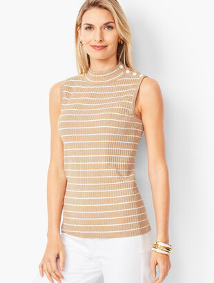 Sleeveless Ribbed Sweater - Metallic Stripe